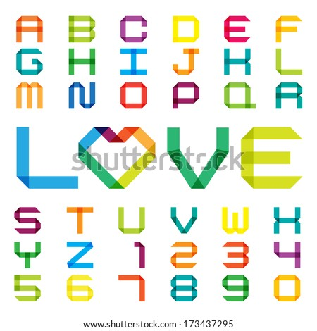 Colorful paper alphabet .Illustration EPS10 - stock vector