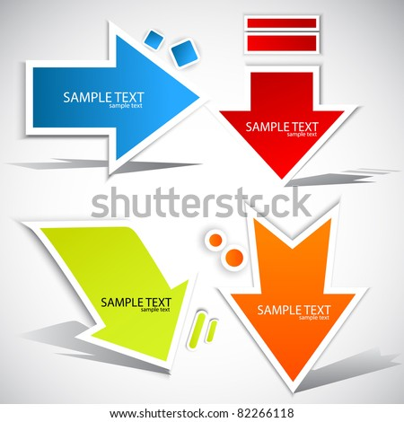 Colorful paper arrow  for speech - stock vector