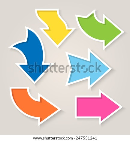 Colorful paper arrow stickers with shadows. Vector illustration - stock vector