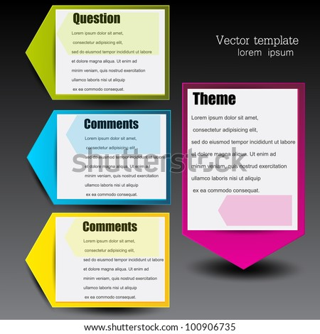 Colorful paper arrows for text. - stock vector