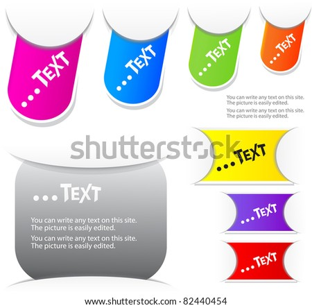 Colorful paper bookmarks. Vector set - stock vector