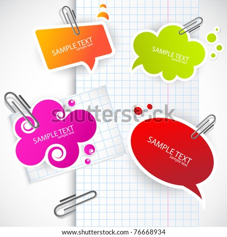 Colorful paper bubble for speech - stock vector