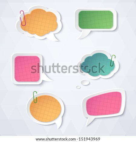 Colorful paper bubbles for speech on a light background. Abstract design. Vector illustration.