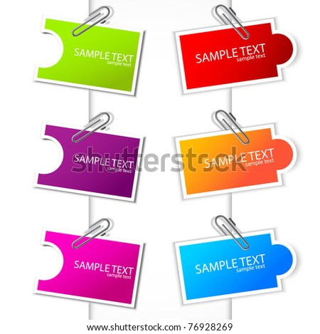 Colorful paper card with clip - stock vector