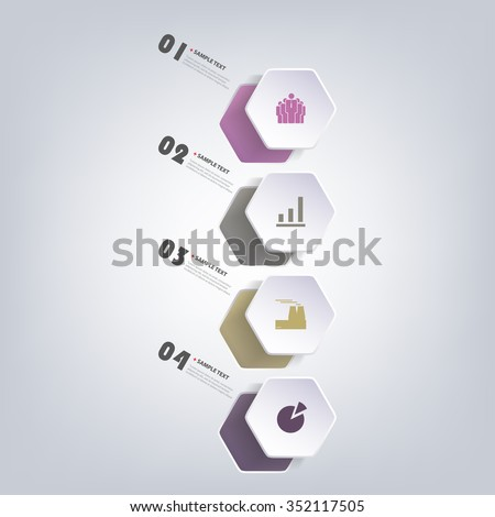 Colorful Paper Cut Infographics Design - Rounded Hexagons - stock vector