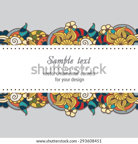 Colorful paper decorative background with doodle summer pattern - stock vector