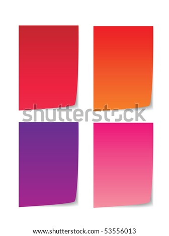colorful paper for message, red, orange, purple and pink.