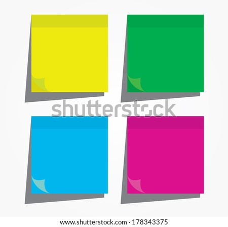 Colorful paper notes - stock vector