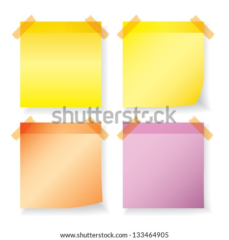Colorful paper notes  on white background. each one is shot separately - stock vector