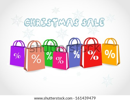 Colorful paper shopping bags with discount sign on a light grey background - Christmas Sale VECTOR