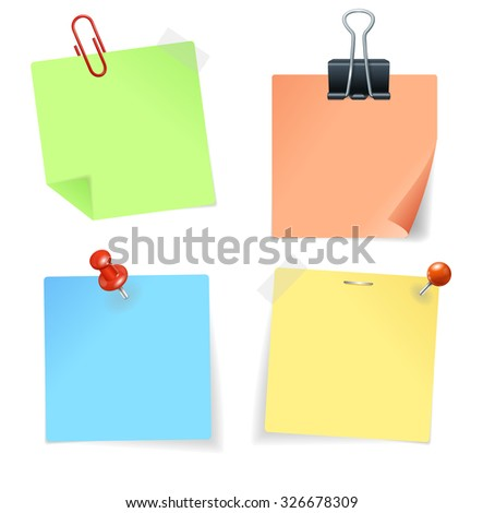 Colorful Paper Sticker and Pin. Vector illustration - stock vector