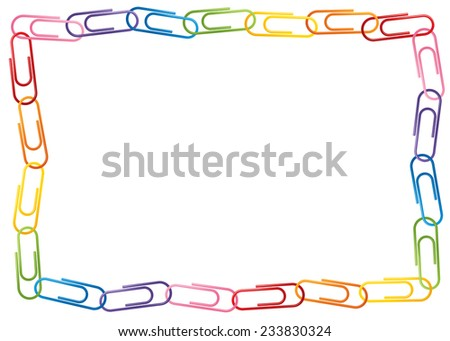colorful page border. Colorful paperclip chain page border  Paperclip Chain Page Border Stock Vector 233830324