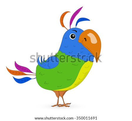 Colorful parrot on a white background Vector