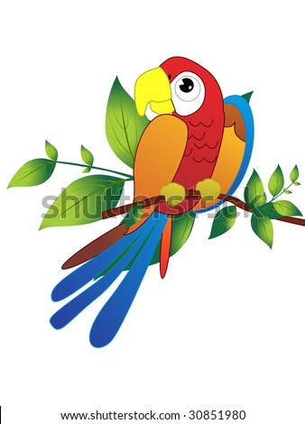 colorful parrot sitting on branch, vector illustration