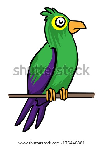 Colorful parrot, vector illustration - stock vector