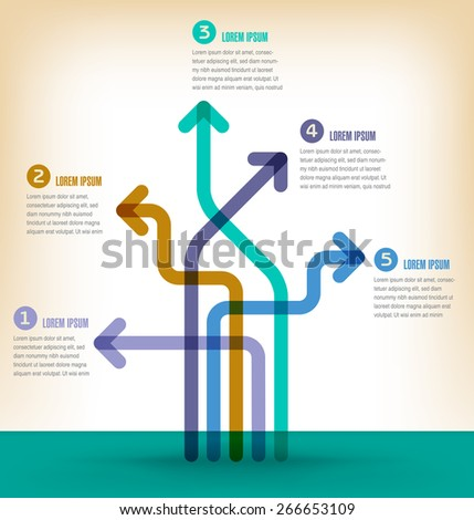 Colorful 5 part infographic - stock vector