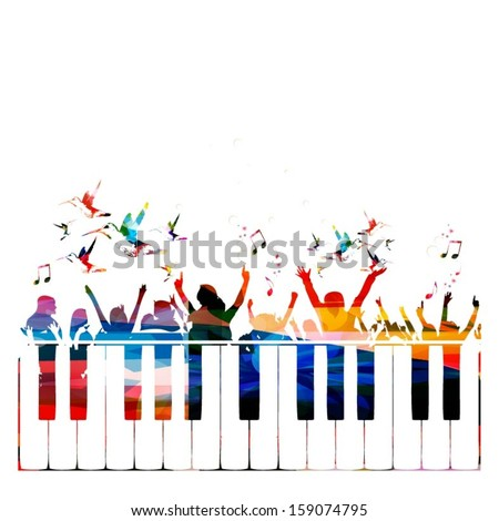 Colorful party background with people silhouettes. - stock vector