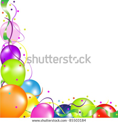 Colorful Party Balloons, Isolated On White Background, Vector Illustration - stock vector