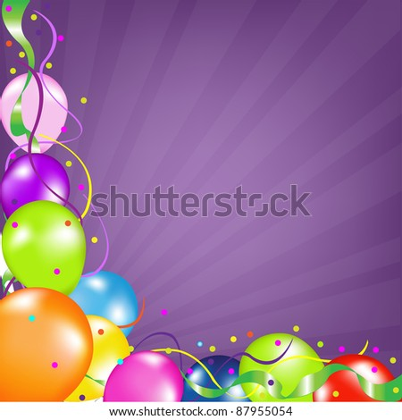 Colorful Party Balloons, With Sunburst, Vector Illustration - stock vector