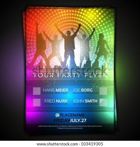 Colorful Party Flyer Template - Fully Editable Vector Design - stock vector