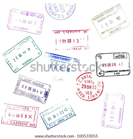 Colorful passport stamps background. - stock vector