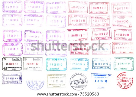 Colorful passport stamps background. vector illustration. - stock vector