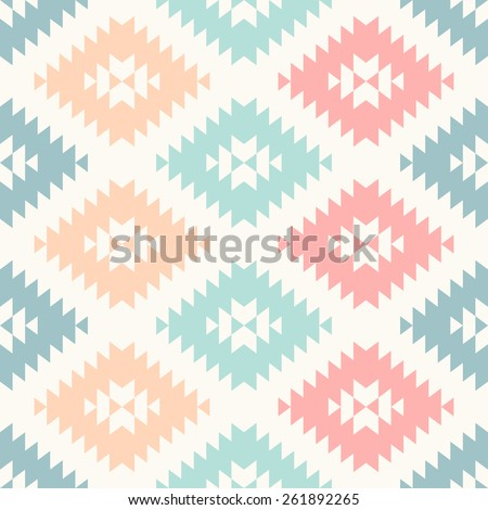 colorful pastel navajo geometric flat pattern. seamless vector background - stock vector