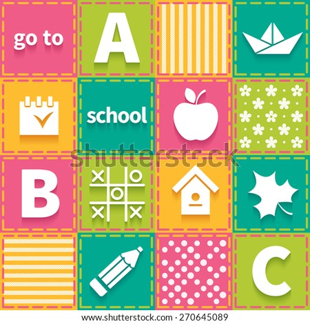 Colorful patchwork with elements of children school theme - stock vector