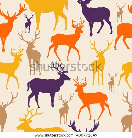 Colorful pattern deer animal silhouette seamless background
