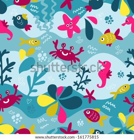Colorful pattern with marine life - stock vector