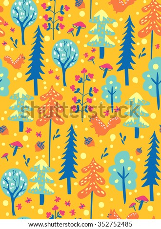 Colorful pattern with winter forrest with squirrel, trees, fir, snow, flower and acorn. Orange, blue, yellow. - stock vector