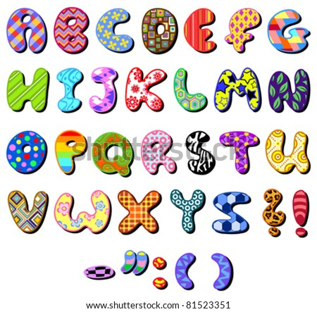 Colorful patterned alphabet set - stock vector