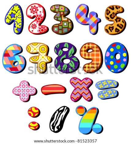 Colorful patterned numbers set - stock vector