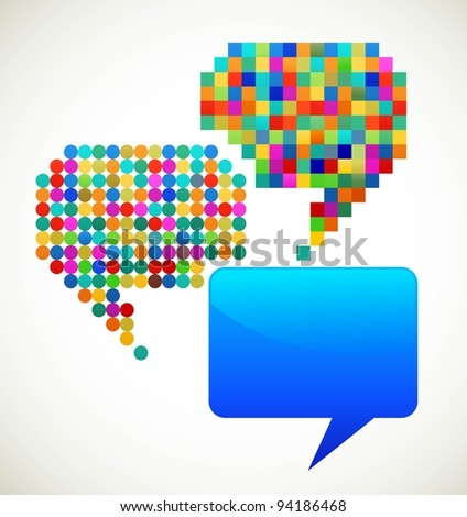 colorful, patterned speech bubbles - stock vector