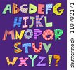Colorful patterns comic alphabet - stock photo