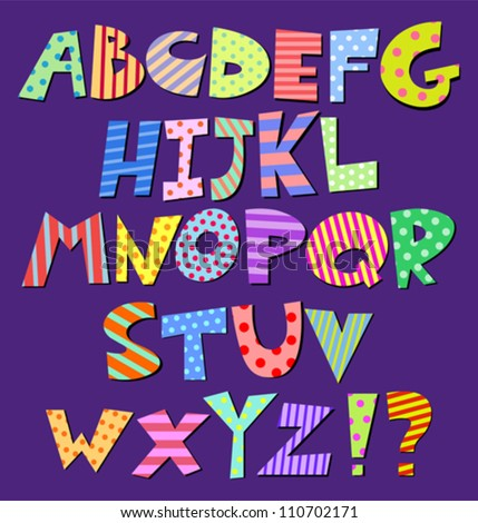 Colorful patterns comic alphabet - stock vector
