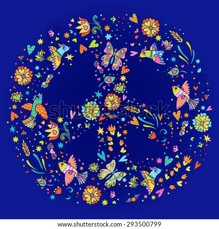 Colorful peace symbol made of  love birds, butterflies and flowers. Can be used for cards, invitations, fabrics, wallpapers, ornamental template for design and decoration. - stock vector