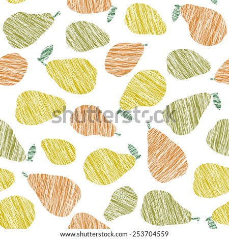 Colorful pear pattern. Summer harvest background. Seamless image with scratched pears. Endless fruit texture. Repeating harvest backdrop. Dessert vector backdrop. White background. - stock vector