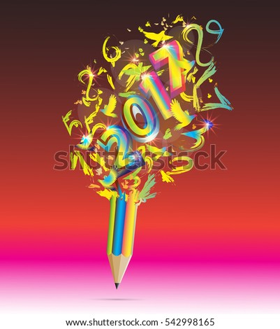 Colorful Pencil with Happy New Year 2017-vector
