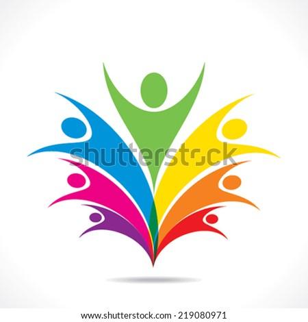 colorful people celebrate icon design vector - stock vector