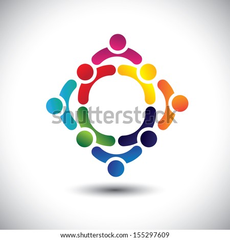 colorful people & children icons in multiple circles- concept vector. This illustration can also represent concept of children playing together or friendship or team building or group activity, etc  - stock vector