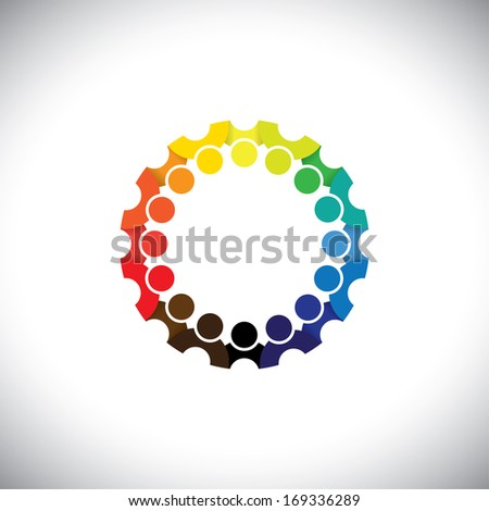 Colorful people community on social media network in circle - vector. This graphic illustration can also represent employee meetings, kids playing, kindergarten school students, etc - stock vector
