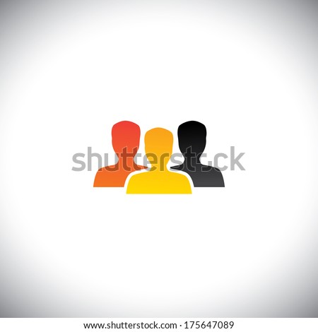 colorful people concept vector of team, teamwork & community. This graphic icon also represents business concepts like office staff, corporate employees, students, meeting, unity, solidarity, etc - stock vector