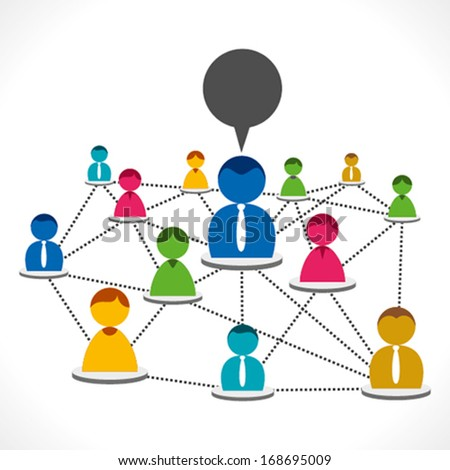 colorful people connected or every member connect to leader concept vector - stock vector