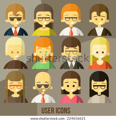 Colorful people Faces Circle Icons Set in Trendy Flat Style - stock vector