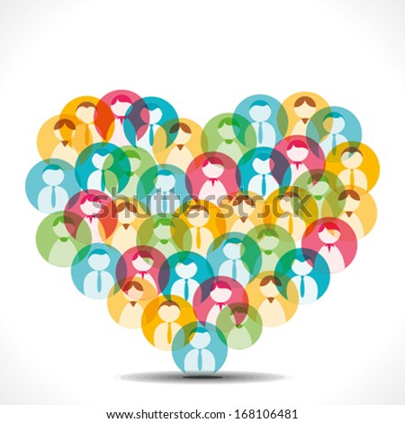 colorful people icon make heart shape vector - stock vector