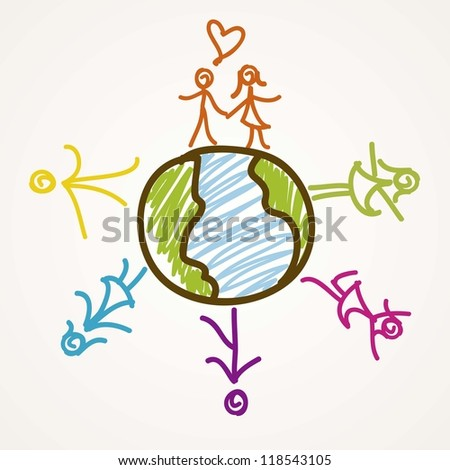 Colorful people Icons around the world - stock vector