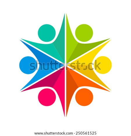 colorful people teamwork icon design concept vector - stock vector