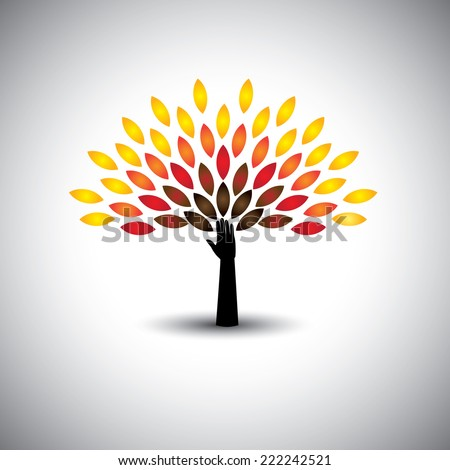 colorful people tree and hand - eco lifestyle concept vector. This graphic also represents harmony, nature conservation, sustainable development, natural balance, development, healthy growth - stock vector