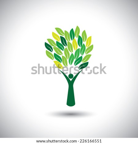 colorful people tree - eco lifestyle concept vector. This graphic also represents harmony, nature conservation, sustainable development, natural balance, development, healthy growth - stock vector